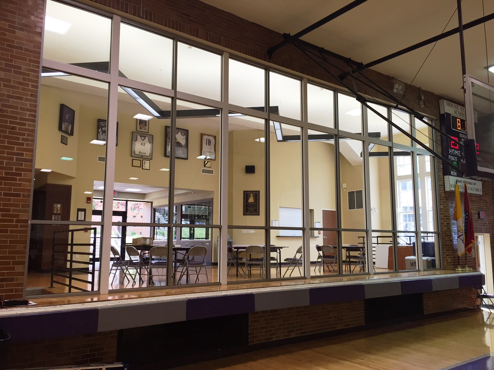 Photo of Mount St. Mary Gym window before