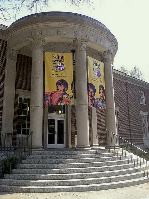 British Invasion banners at Argenta Library