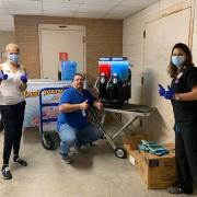 nurses with slushee machine